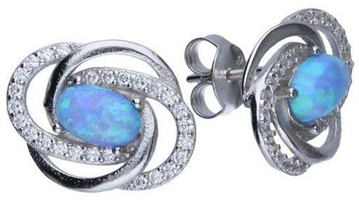 Srebrne kolczyki 925 sztyft Niebieski opal 1,79g