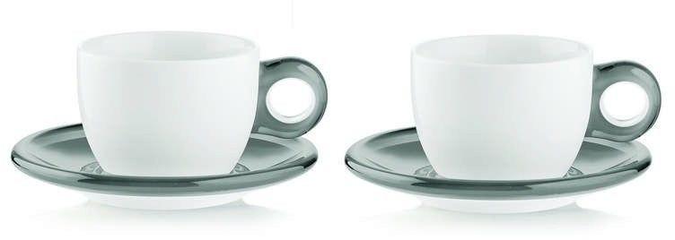 Guzzini - gocce - kpl. 2 filiżanek do cappuccino, szary