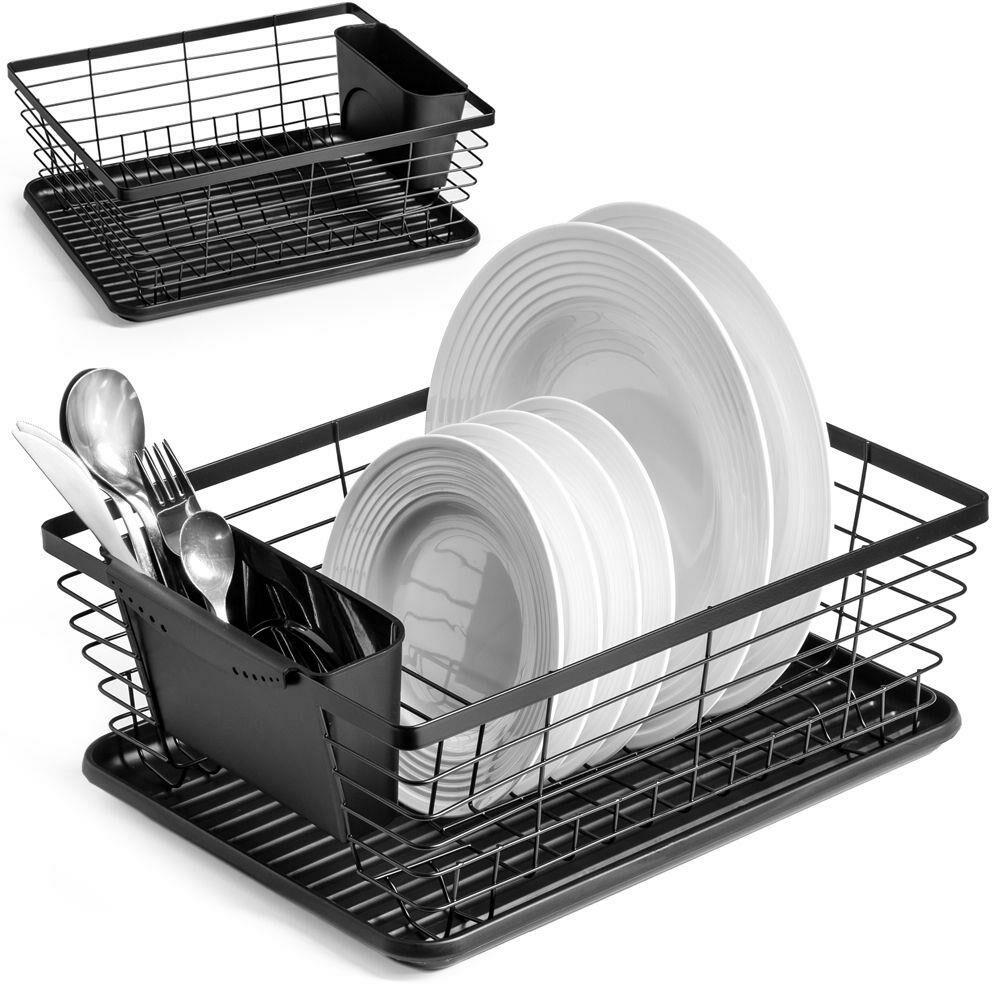Suszarka na naczynia czarna ociekacz do naczyń 36x30x14,5 cm