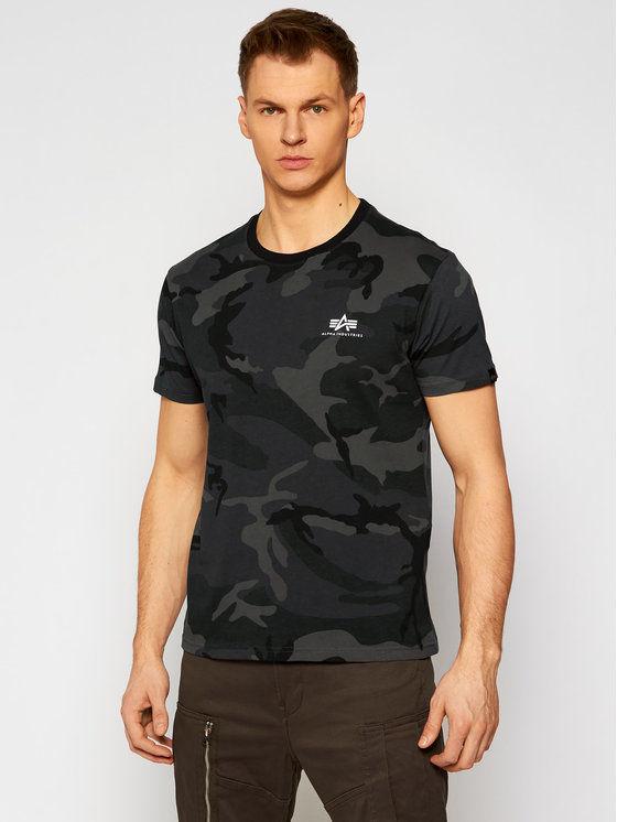 Alpha Industries T-Shirt Basic T Small Logo Camo 188505C Szary Regular Fit
