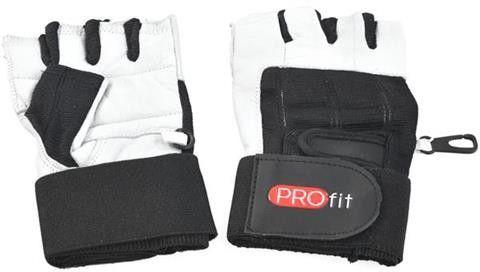 Rękawiczki kulturystyczne PROfit Gym Pro - białe długie Rozmiar odzieży: L