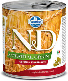 N&D DOG ANCESTRAL GRAIN CHICKEN POMEGRANATE ADULT 285G