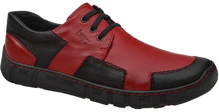 Półbuty KACPER 1-4801-160+575 Czerwone Czarne męskie