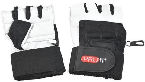 Rękawiczki kulturystyczne PROfit Gym Pro - białe długie Rozmiar odzieży: XXL