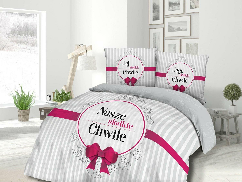 Pościel bawełniana 220x200 61480/1 Nasze słodkie chwile Jej i Jego paski ornamenty kokarda biała szara różowa Panelove
