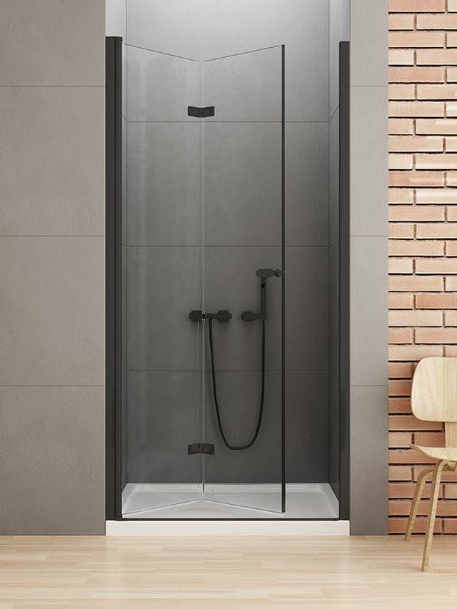 New Trendy New Soleo Black drzwi składane 100 cm lewe, wys. 195 cm, szkło czyste 6 mm D-0225A