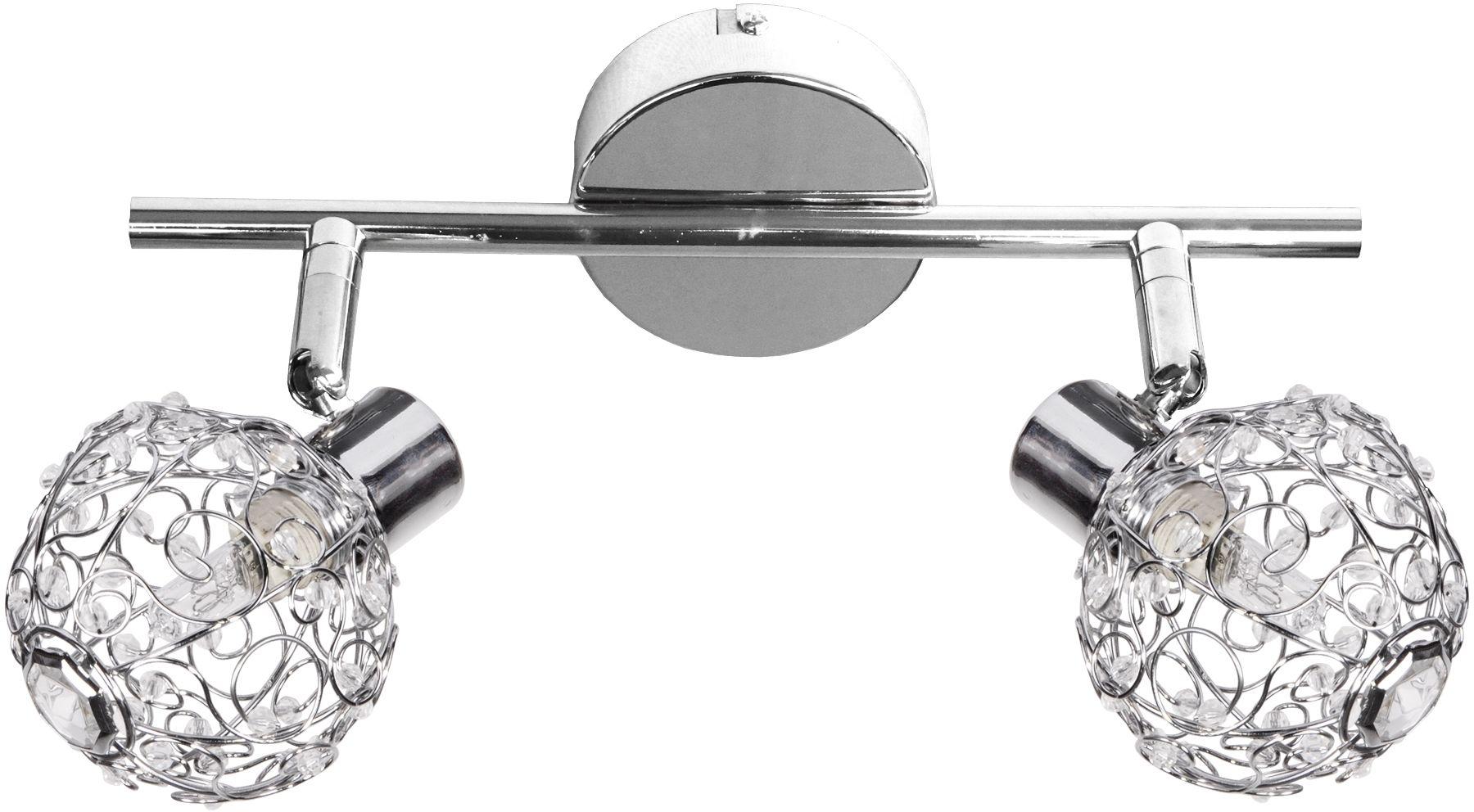 Candellux COLLAR 92-13644 kinkiet lampa ścienna chrom klosik druciany koraliki z akrylu 2X40W G9 27cm