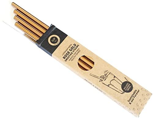 SUP Słomki wielokrotnego użytku, metalowe, różowe złoto, smoothie, 1 x 5 x 23,6 cm