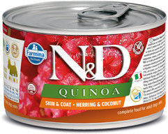 N&D DOG QUINOA HERRING COCONUT ADULT MINI 140G