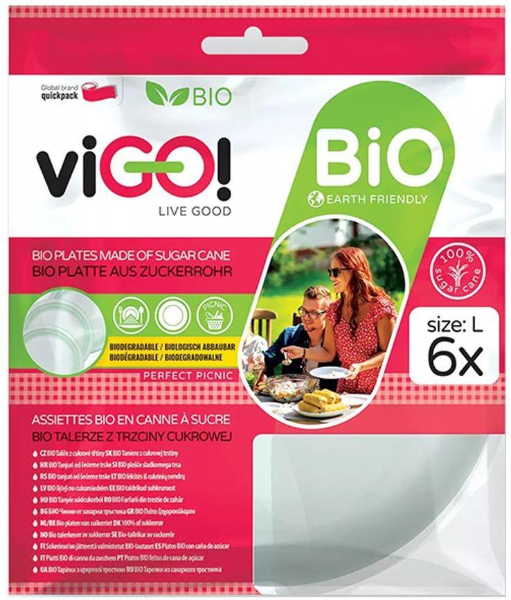 Biodegradowalne Talerze z Trzciny Cukrowej Rozmiar L 6 sztuk - viGO!