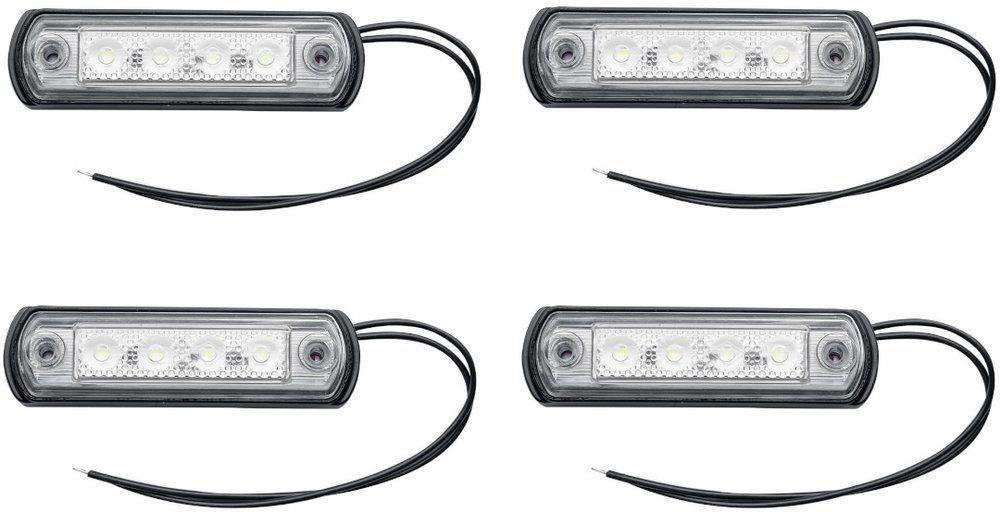 Zestaw 4 szt. lamp obrysowych białych LED na gumowej podstawie Horpol