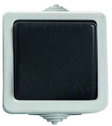 TEKNO Łącznik hermetyczny dwubiegunowy schodowy śrubowy 10AX 250V czarny IP54 25349