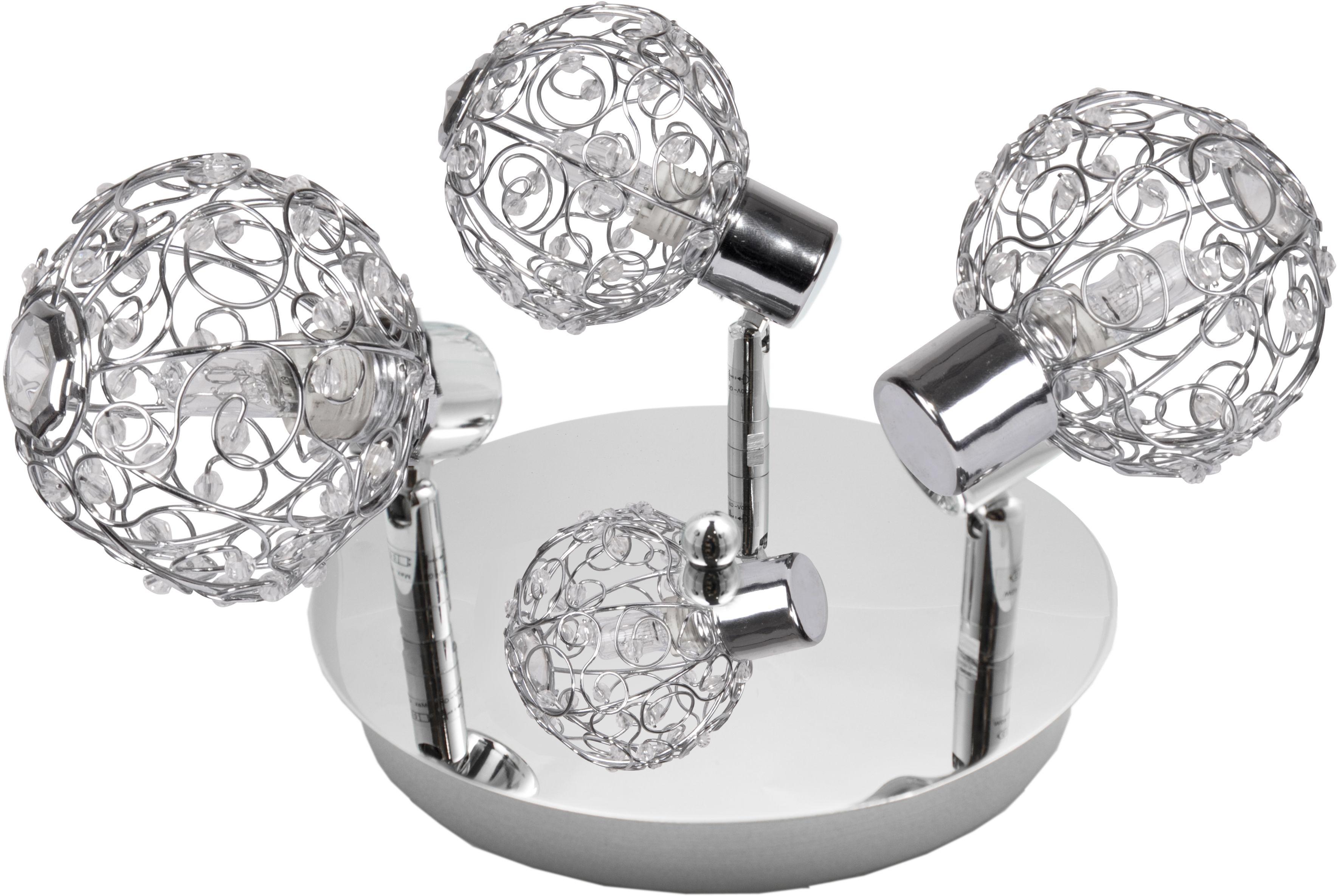 Candellux COLLAR 98-13750 plafon lampa sufitowa chrom metalowy klosz koraliki z akrylu 3X40W G9 44cm