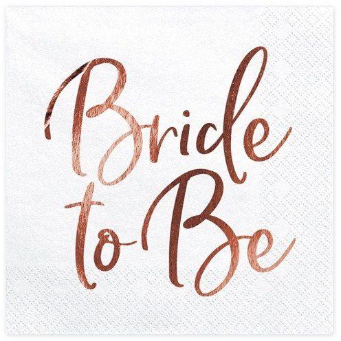 Serwetki na Wieczór Panieński Bride to Be różowe złoto 33cm 20 sztuk SP33-76-019R