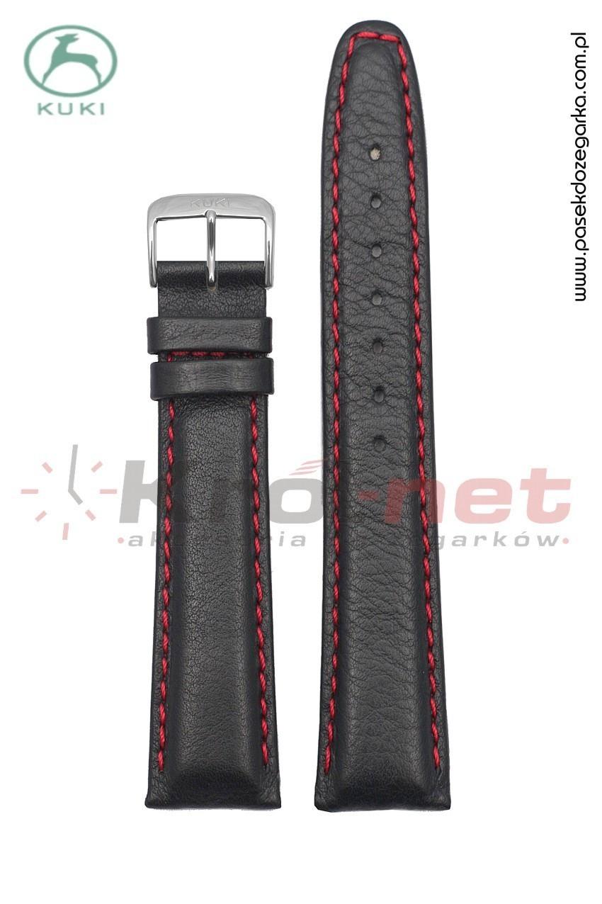 Pasek do zegarka Kuki 0308B/24 - czarny, gładki, czerwone nici.