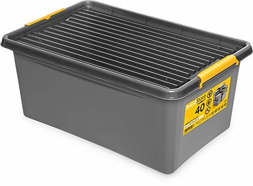 Orplast Solidstore Box 40 litrów na kółkach, grafitowy i żółty, 1