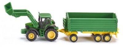 Traktor John Deere z przyczepą i ładowarką - Siku Farmer