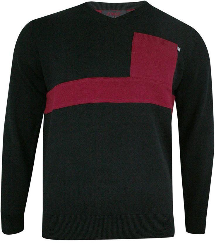 Sweter Męski, Czarno-Czerwony w Serek -KINGS- Dekolt V-Neck, Tłoczony Wzór, Klasyczny SWKNGS4024006czarny