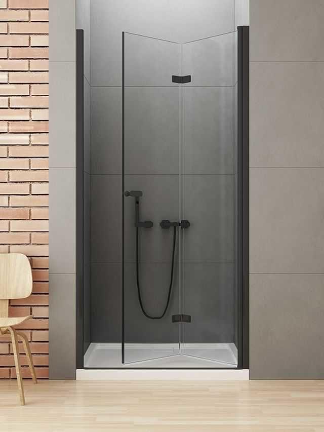 New Trendy New Soleo Black drzwi składane 90 cm prawe, wys. 195 cm, szkło czyste 6 mm D-0224A