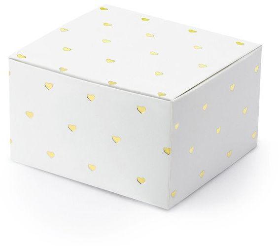 Pudełeczka dla gości złote serduszka 10 sztuk PUDP36-008-019M
