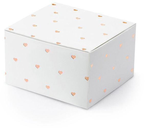 Białe pudełeczka w różowozłote serduszka 10 szt PUDP36-008-019R