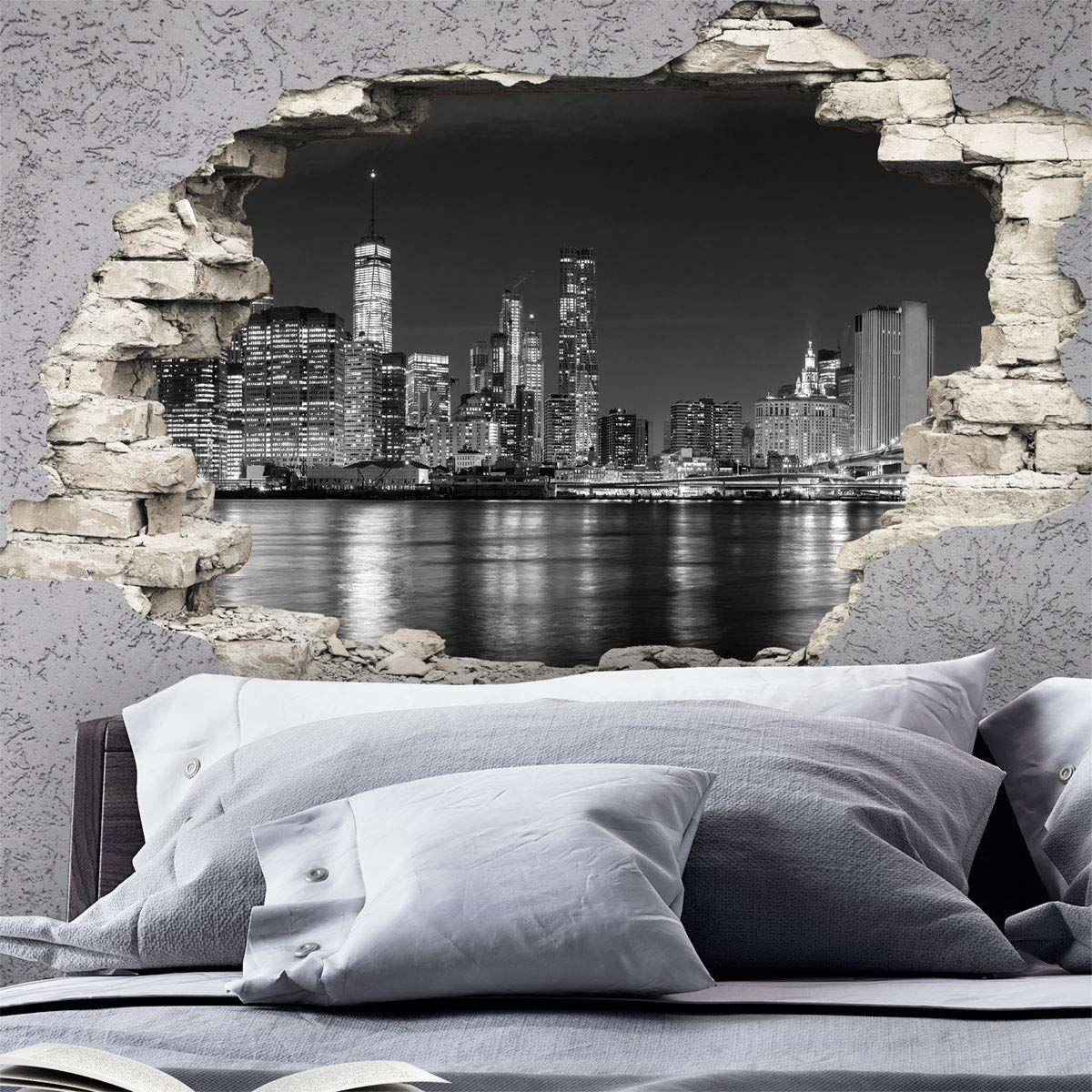 Naklejka z efektem 3D naklejka ścienna New York Skyline - tapeta dekoracja optyczna złudzenie pomieszczenia i salonu 60 x 90 cm