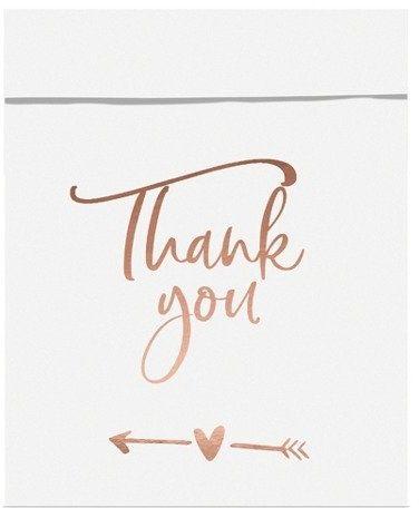 Torebki na słodycze Thank you różowe złoto 6 szt. TNSP7-019R