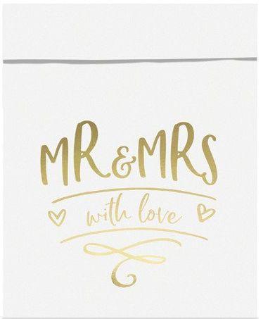 Torebki na słodycze Mr & Mrs złoty nadruk 6 szt. TNSP8-019M