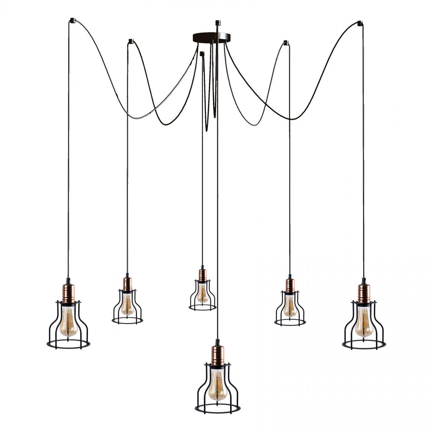Lampa wisząca Workshop 9631 Nowodvorski Lighting czarna oprawa pająk z miedzianymi detalami