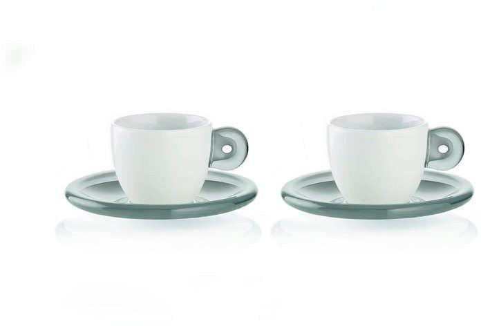 Guzzini - gocce - kpl. 2 filiżanek do espresso, szary