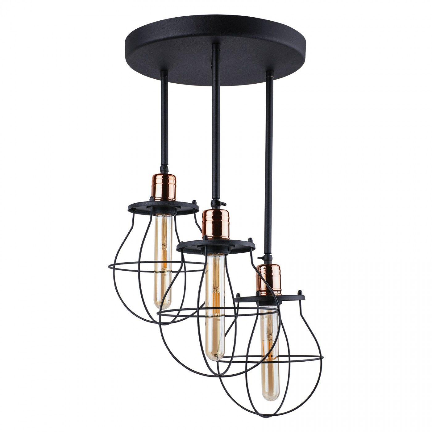 Plafon Manufacture 9740 Nowodvorski Lighting czarno-miedziana potrójna oprawa w stylu loft