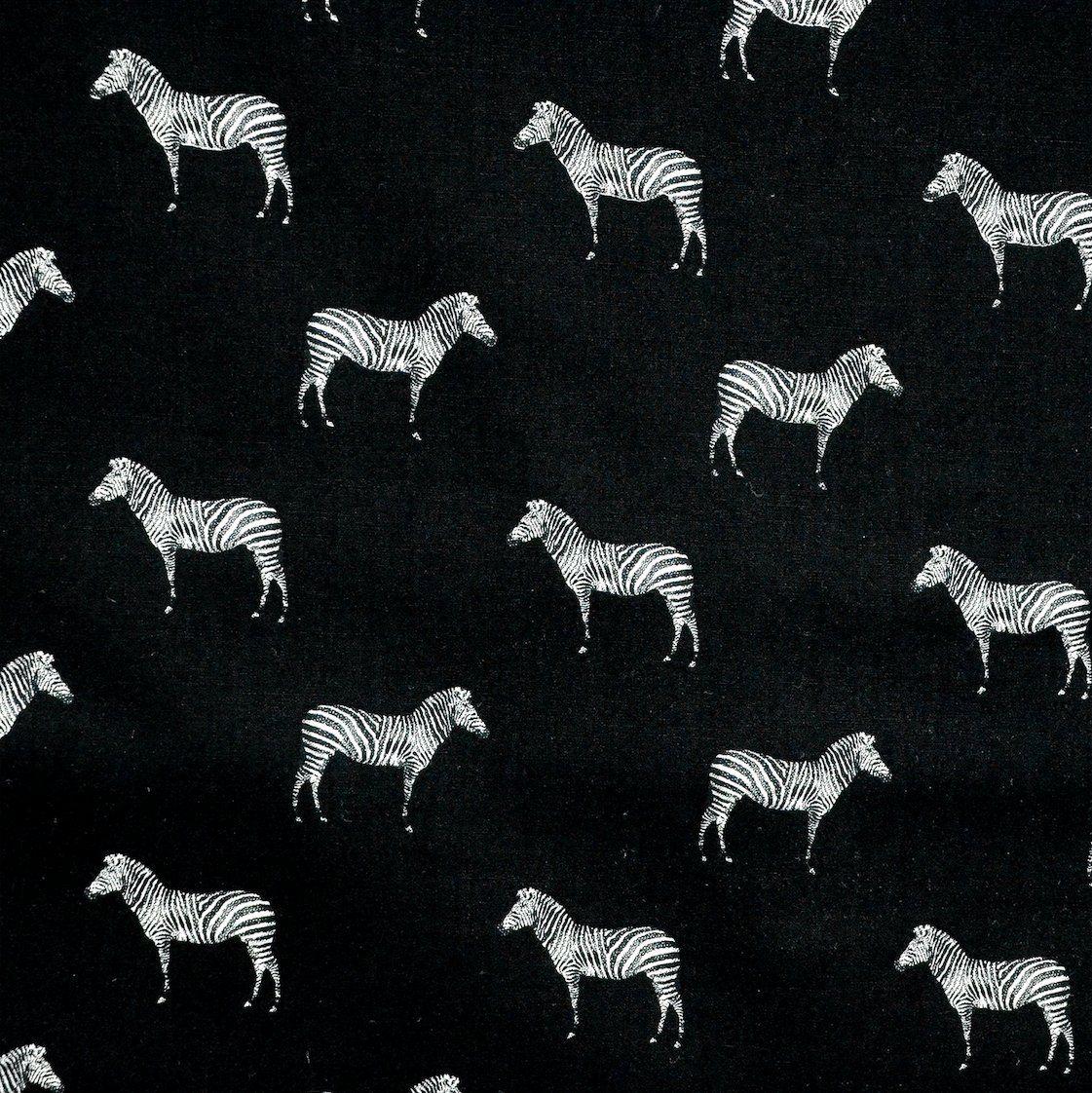Hadson Craft Freedom Poly Cotton zebra zwierzę wzór pikowanie patchwork rzemiosło brytyjski design tkanina na pościel zasłony wyposażenie odzież - cena ćwierć metrów (0,25 cm), czarny, jeden rozmiar