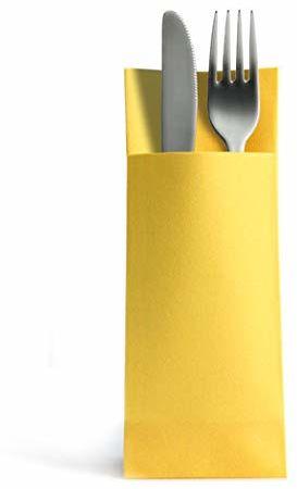 Alvotex Airlaid 50 serwetek na sztućce, torby na sztućce, podobne, wysokiej jakości serwetki jednorazowe, żółte, 32 x 40 cm