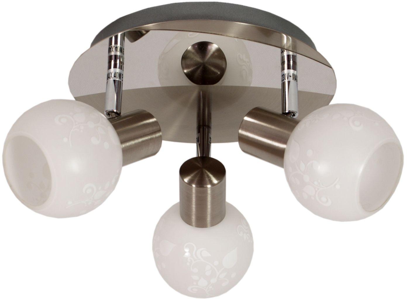 Candellux AVILA 98-10070 plafon lampa sufitowa satyna nikiel szklany klosz 3X40W E14 36cm