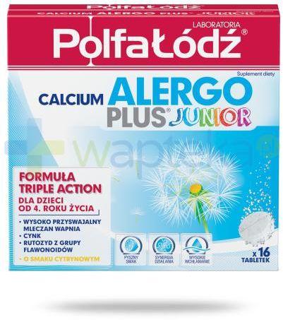Calcium Alergo Plus Junior Laboratoria Polfa Łódź smak cytrynowy 16 tabletek musujących