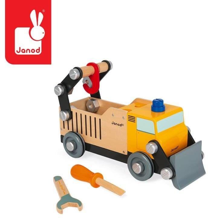 Drewniana ciężarówka budowlana do składania z narzędziami brico''kids, janod
