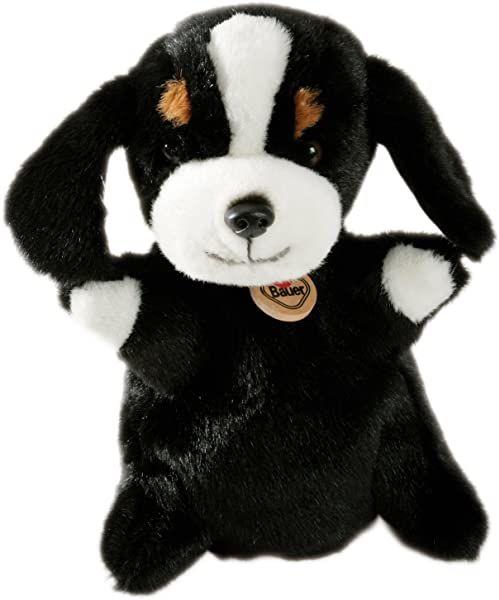 """Bauer Spielwaren """"Theatrello"""" 11819 pacynka Berner gorący pies maskotka do teatru lalek i gier edukacyjnych, nadaje się do prania, czarna"""
