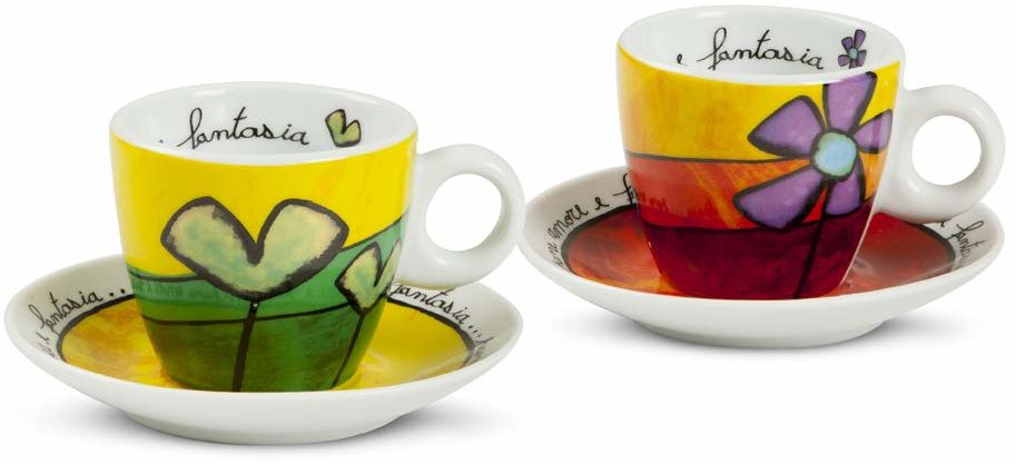 Egan PAF02/1V zestaw filiżanek do kawy, porcelana, zielono-czerwona, 4 sztuki