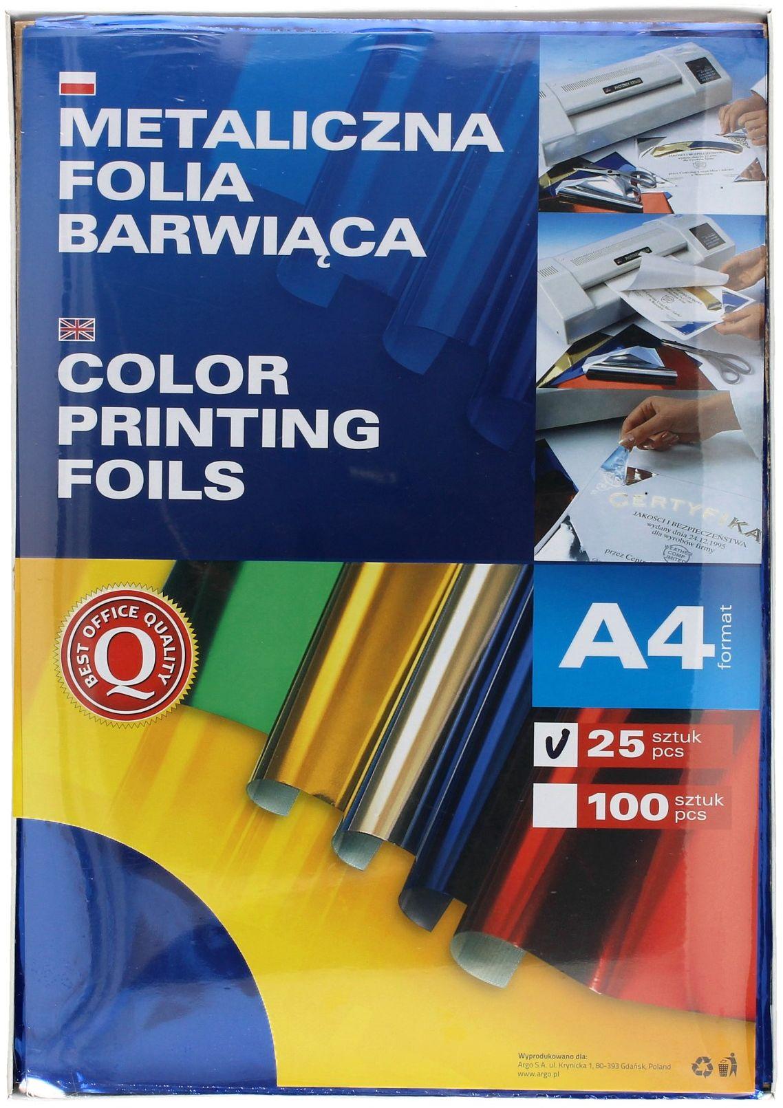 Folia metaliczna A4 niebieska barwiąca Argo (25)