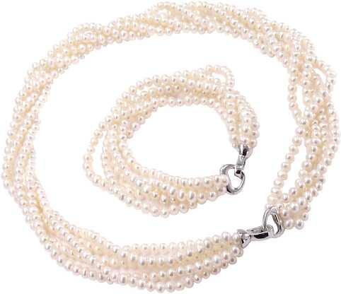 ASAMI, komplet biżuterii z białych pereł