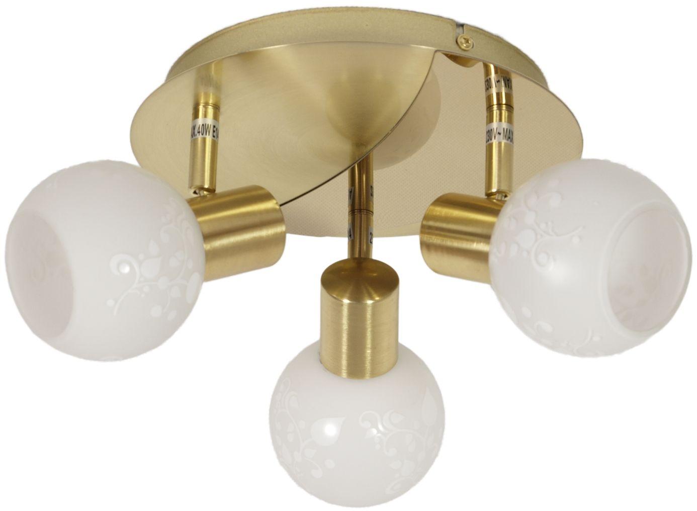 Candellux AVILA 98-07131 plafon lampa sufitowa mosiądz szklany klosz 3X40W E14 36cm