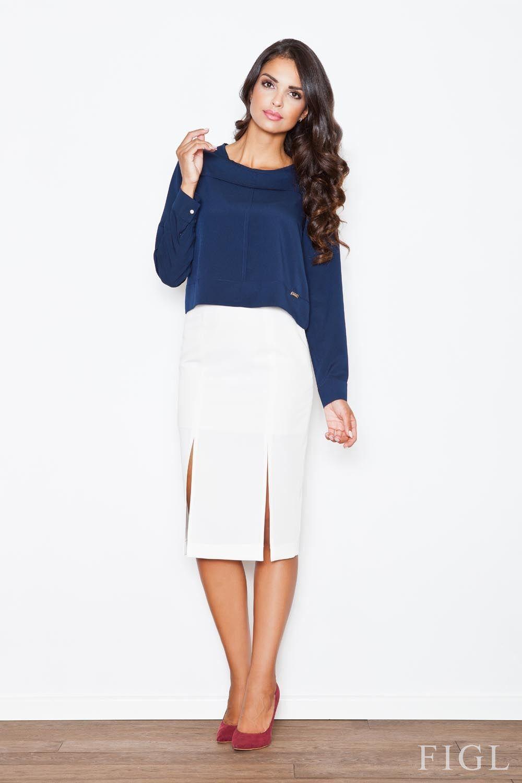 Ecru elegancka ołówkowa spódnica z podwójnym pęknięciem