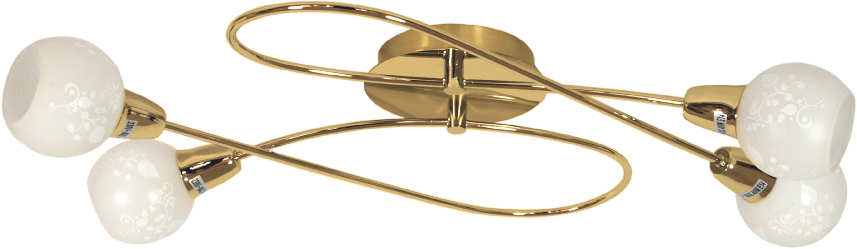 Candellux AVILA 98-07148 plafon lampa sufitowa mosiądz szklany klosz 4X40W E14 62cm