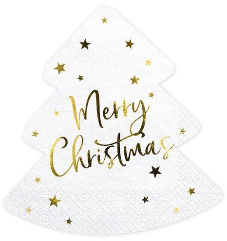 Serwetki Choinka Merry Christmas białe 20 sztuk SPK8