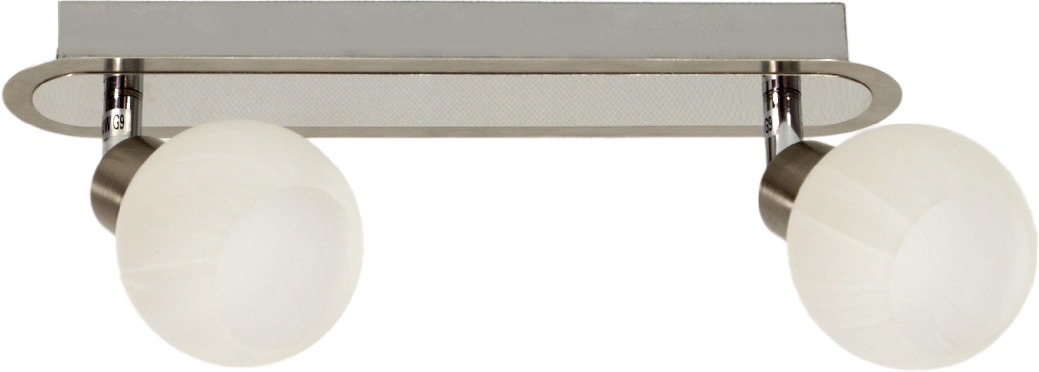 Candellux ALABASTER 92-07018 listwa oświetleniowa satyna nikiel+chrom szklany klosz 2X40W G9 42cm