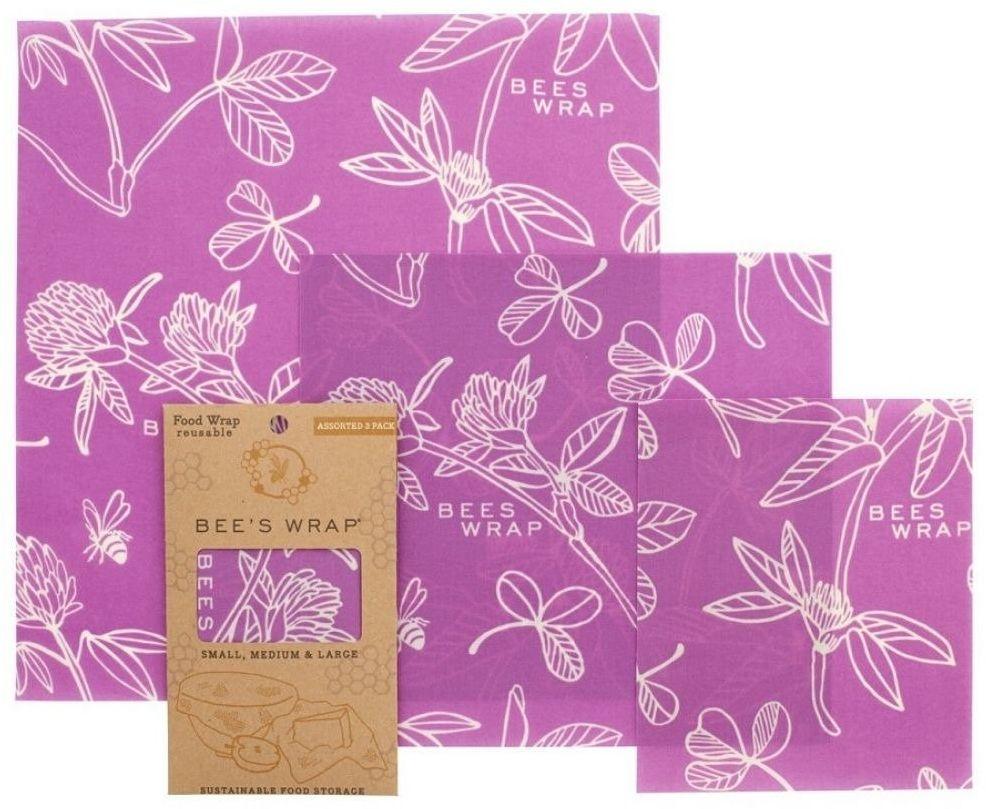 3 szt. woskowanej organicznej bawełny do zawijania Bee''s Wrap - Mimi''s purple