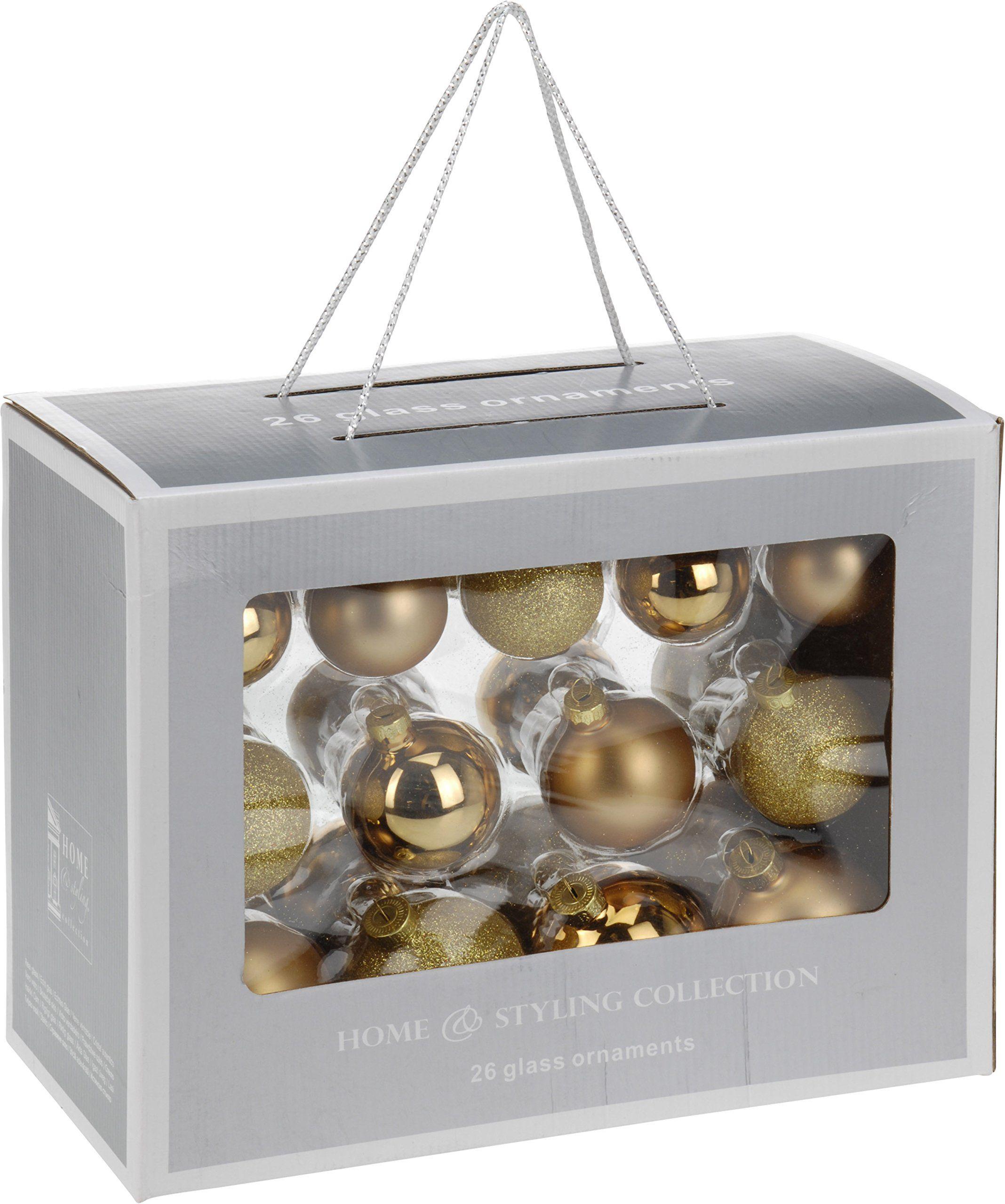 Home&Style 734632 zestaw bombek bożonarodzeniowych, 26 sztuk, 10 x 5 cm, 4 x błyszczące 6 x matowe, 8 x 5,6 cm, 8 x 6,5 cm, 2 x błyszczące, 6 x matowe w kartonie okiennym