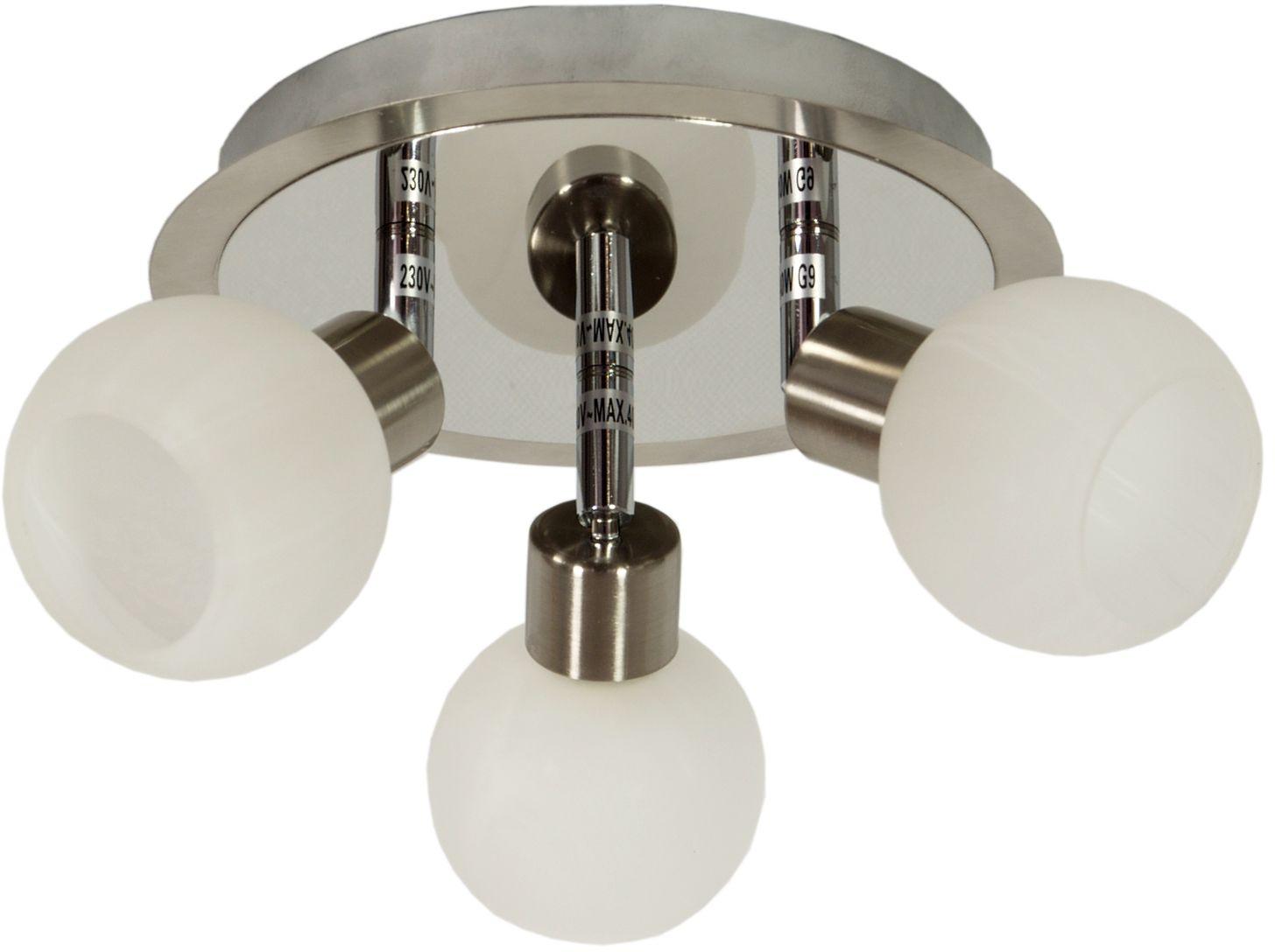 Candellux ALABASTER 98-07025 plafon lampa sufitowa satyna nikiel+chrom szklany klosz 3X40W G9 30cm
