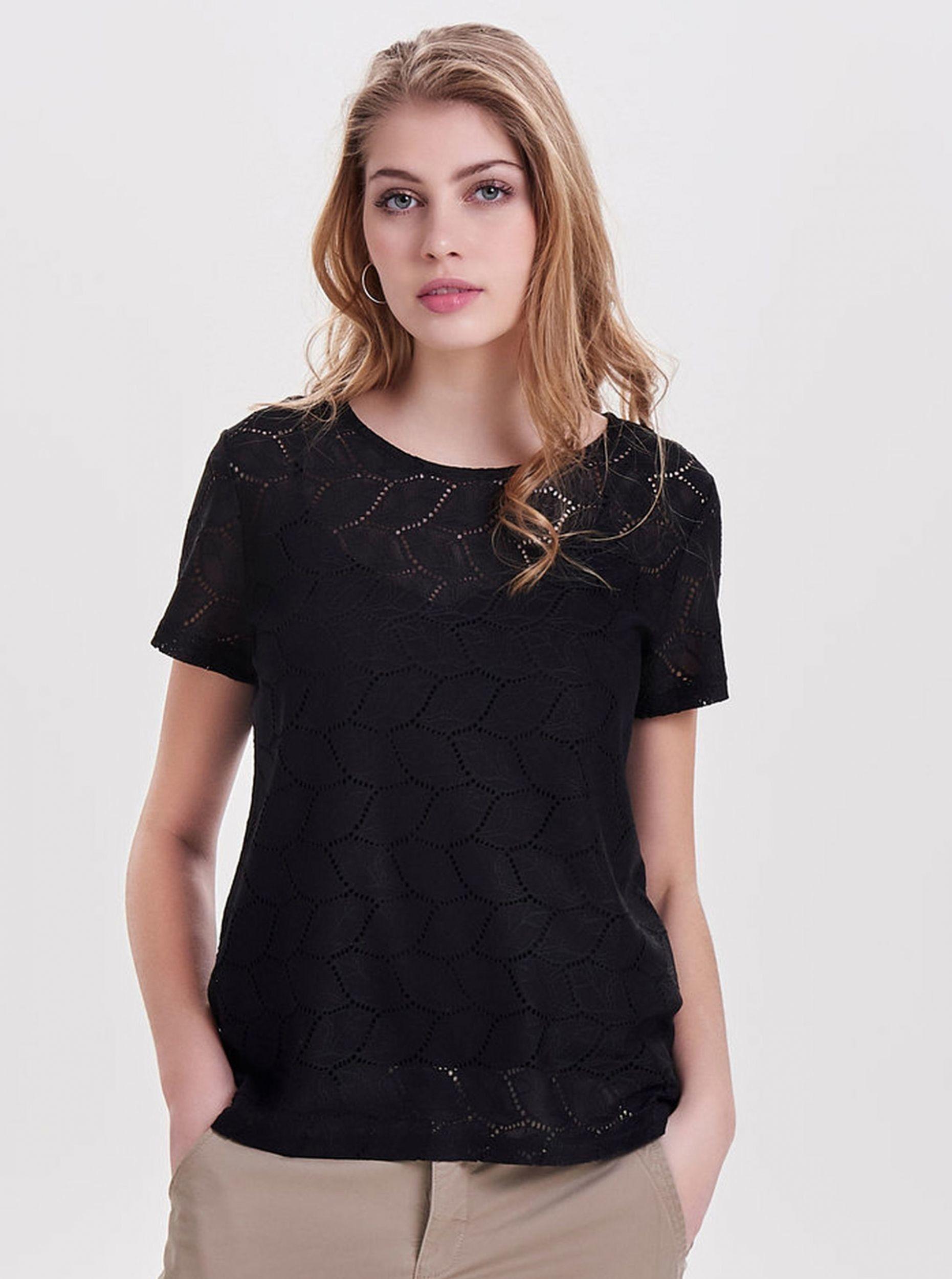 Czarna wzorzysta bluzka Jacqueline de Yong Tag