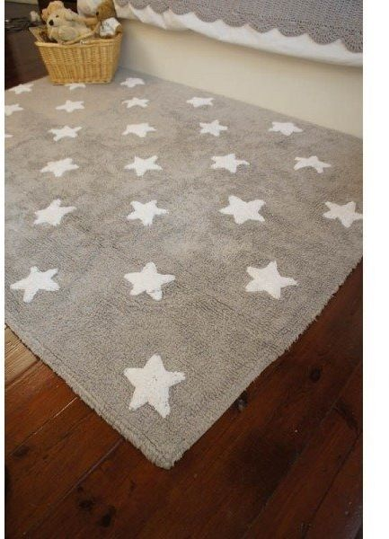 Dywan do prania w pralce grey stars white, lorena canals 120 x 160 cm - szary grey